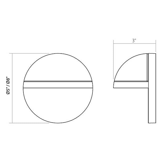 Mezza Vetro LED Outdoor Wall Sconce - Diagram