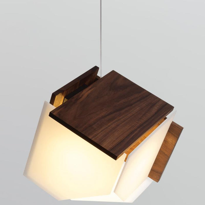 Mica L LED Pendant - Dark Stained Wood Finish
