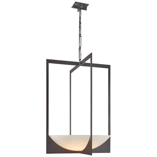 Michaela Large Wide Chandelier - Alabaster/Aged Iron Finish