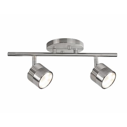 Modern LED Single Fixed Track Fixture - Brushed Nickel/2 Light