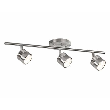 Modern LED Single Fixed Track Fixture - Brushed Nickel/3 Light