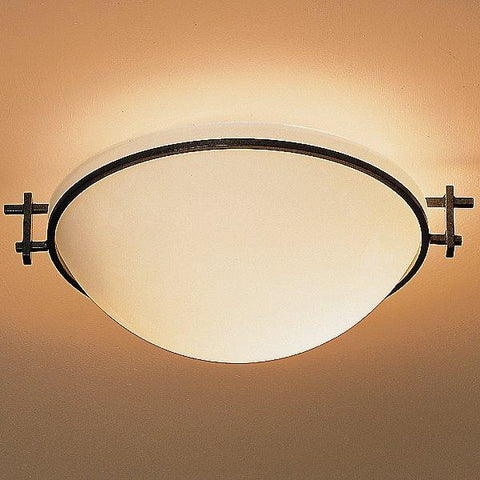 Moonband Semi Flush Ceiling Light - Opal/Natural Iron