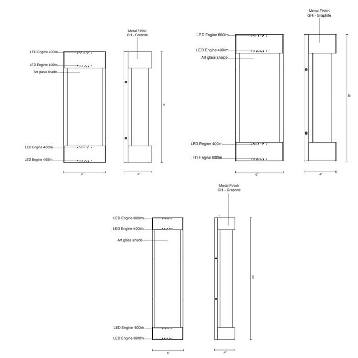 Moondew LED Outdoor Wall Sconce - Diagram
