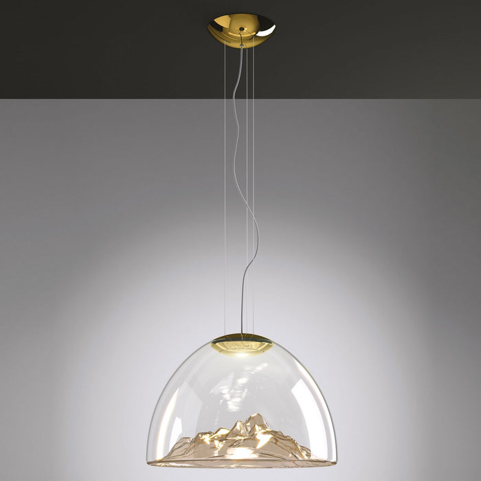 Mountain View Pendant Light - Amber/Gold Finish