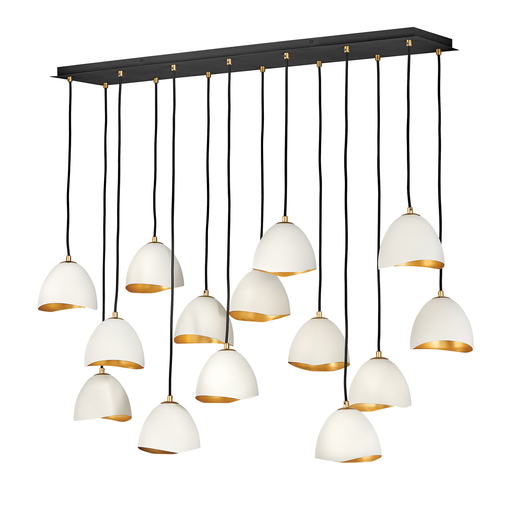 Nula Linear Suspension - Shell White Finish with Gold Leaf Accents
