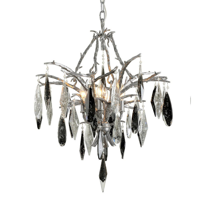 Nera Small Chandelier - Blackened Silver Leaf Finish