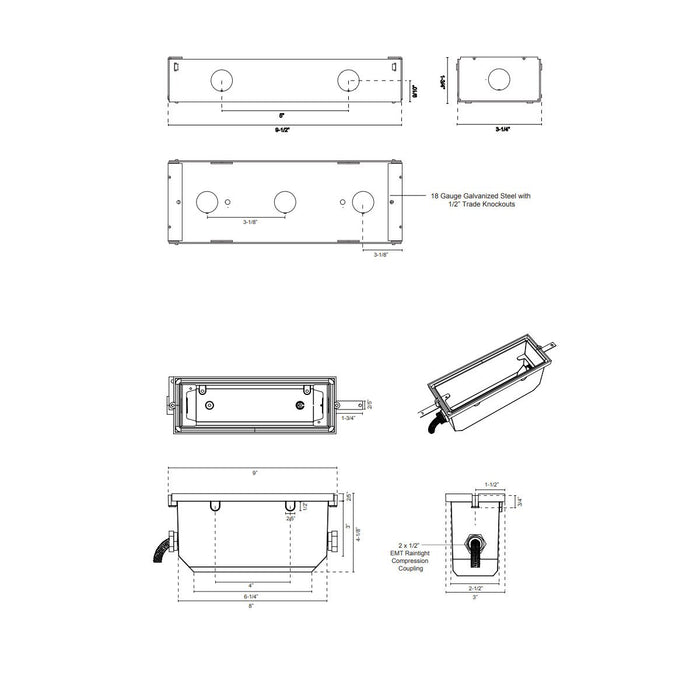 Newport LED 7110 Step Light Back Box - Diagram