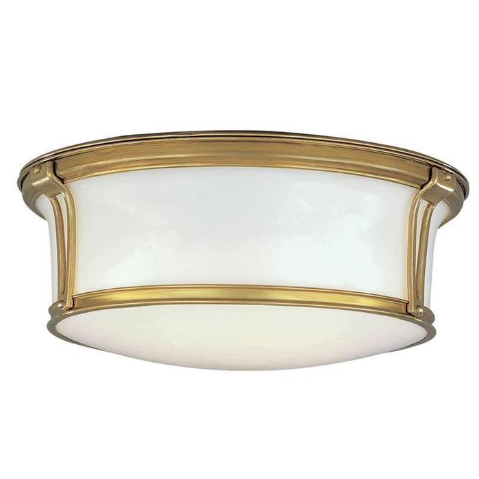 "Newport Ceiling Light 13"" Satin Nickel Aged Brass"