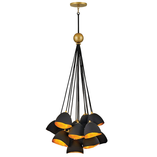 Nula Cluster Pendant - Shell Black Finish with Gold Leaf Accents