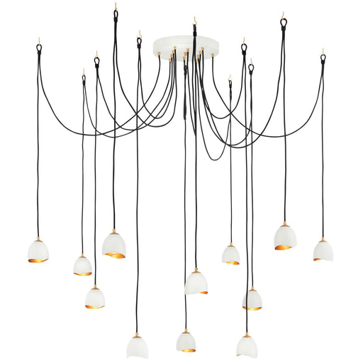 Nula Multi Light Pendant - Shell White Finish with Gold Leaf Finish