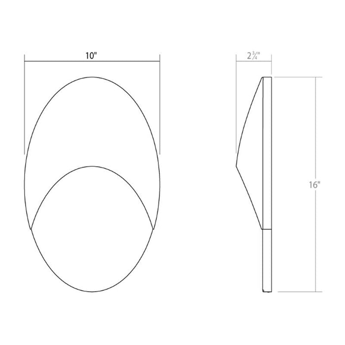 Ovos Oval LED Outdoor Wall Sconce - Diagram