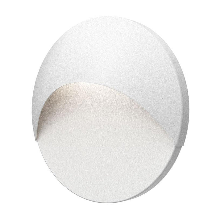 Ovos Round LED Outdoor Wall Sconce - Textured White Finish