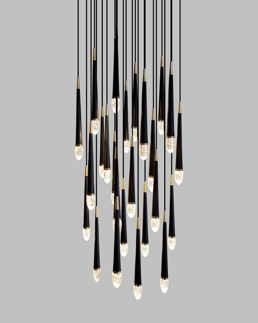 25-Light Chandelier - Black/Soft Brass