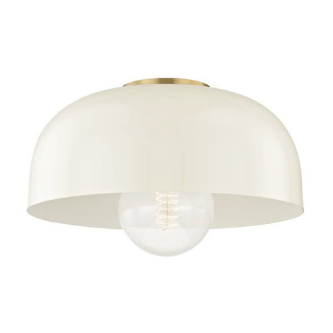 "PEYTON 14"" SEMI FLUSH Aged Brass/Cream"