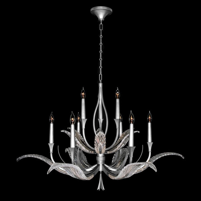 Plume Chandelier - Silver Leaf Finish
