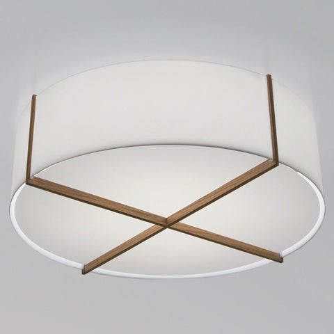 Plura Flush Mount Ceiling Light - Frosted / Oiled Walnut