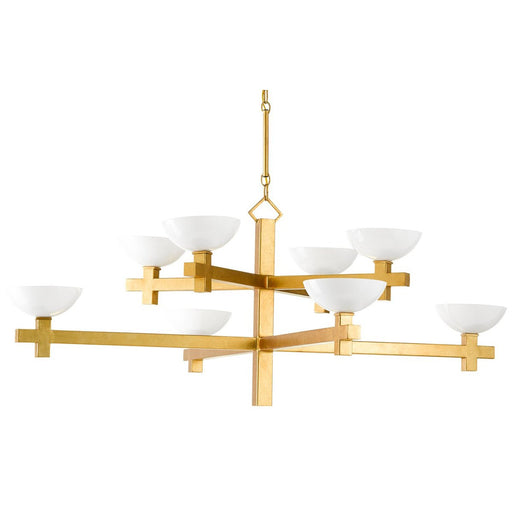 Poitou Chandelier - White/Gold Leaf Finish