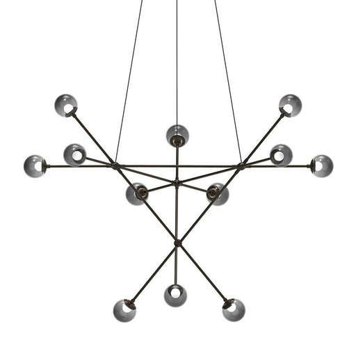 Proton Alpha LED Chandelier - Polished Black Nickel Finish with Smoked Glass