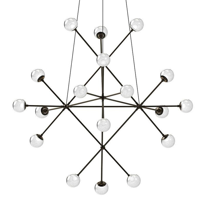Proton Beta LED Pendant - Polished Black Nickel Finish with White Crushed Glass