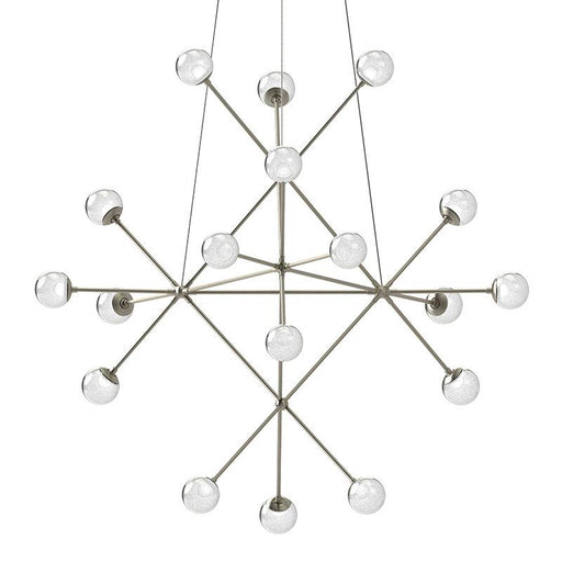 Proton Beta LED Pendant - Satin Nickel Finish with White Crushed Glass