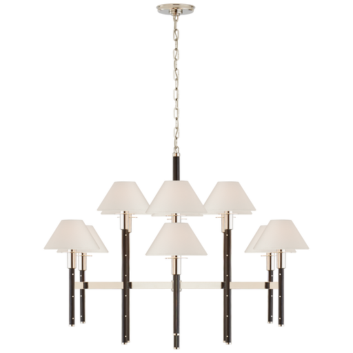 Radford Large Two Tier Chandelier - Polished Nickel/Black Ebony