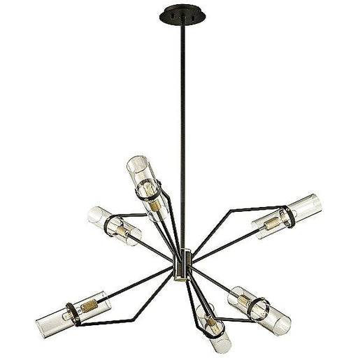 "Raef 36"" Chandelier - Textured Bronze/Brushed Brass"