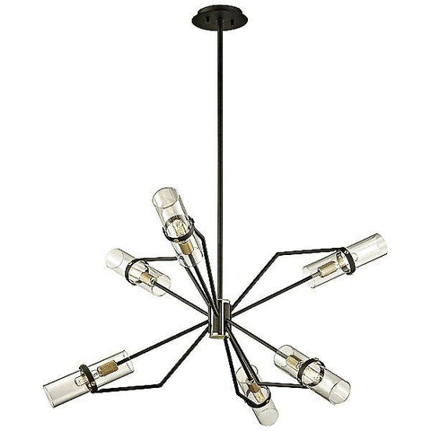 "Raef 36"" Chandelier Textured Bronze/Brushed Brass"