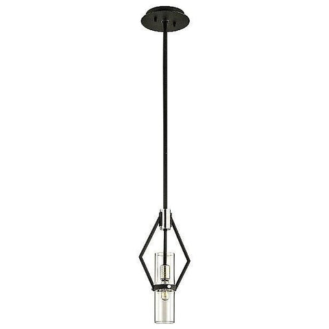 "Raef 15"" Pendant Light Textured Black/Polished Nickel"