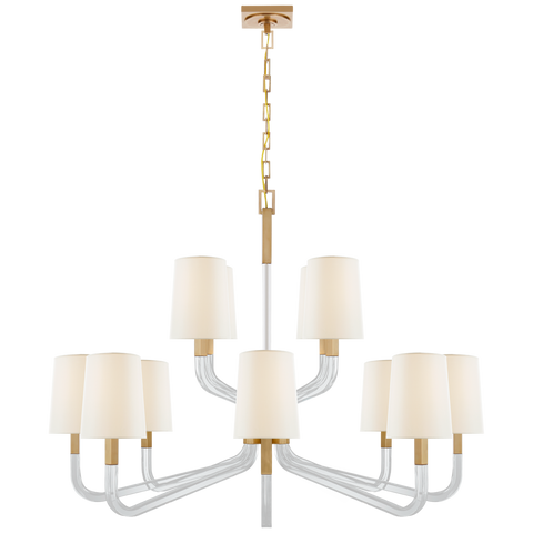 Reagan Grande Two Tier Chandelier - Antique-Burnished Brass Finish (With Shades)