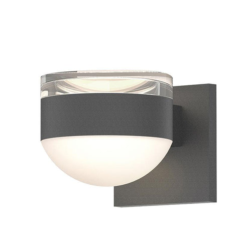 Reals Cylinder/Dome Outdoor Wall Sconce - Textured Gray / Clear Cylinder