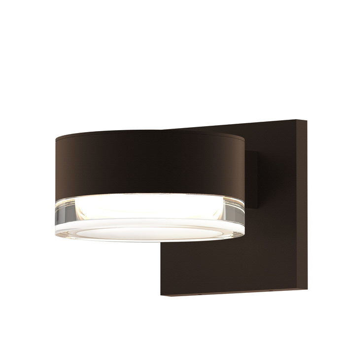Reals Cylinder Outdoor Wall Sconce - Textured Bronze / Clear Cylinder / Downlight