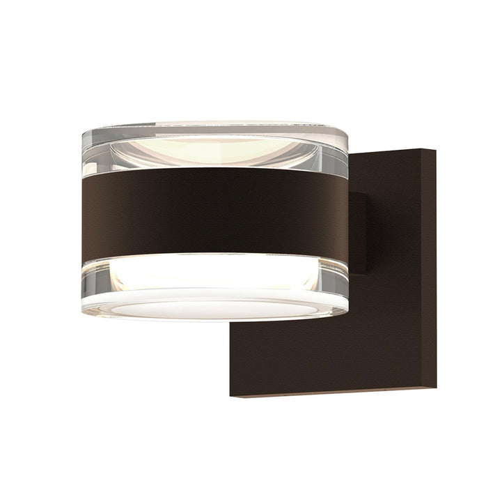 Reals Cylinder Outdoor Wall Sconce - Textured Bronze / Clear Cylinder / Up & Down Light