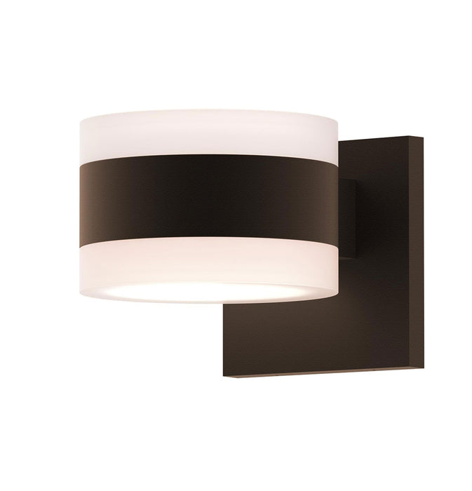 Reals Cylinder Outdoor Wall Sconce - Textured Bronze / White Cylinder / Up & Down Light