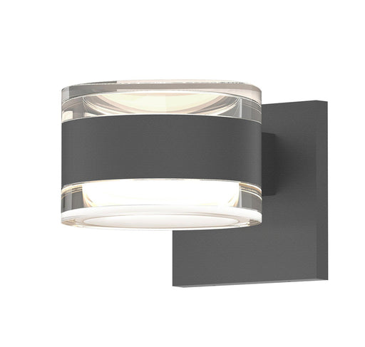 Reals Cylinder Outdoor Wall Sconce - Textured Gray / Clear Cylinder / Up & Down Light