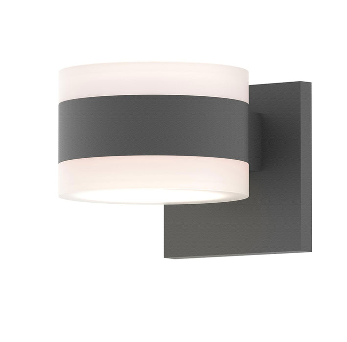 Reals Cylinder Outdoor Wall Sconce - Textured Gray / White Cylinder / Up & Down Light