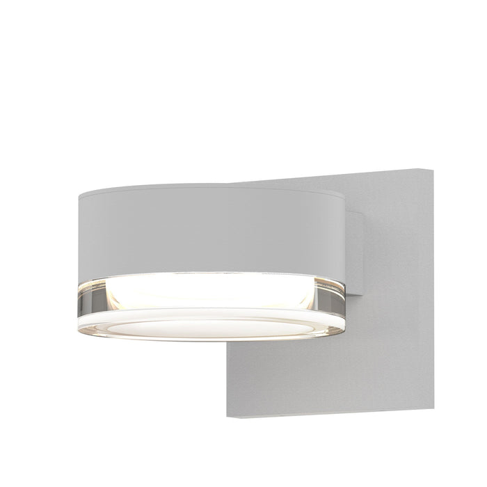 Reals Cylinder Outdoor Wall Sconce - Textured White / Clear Cylinder / Downlight