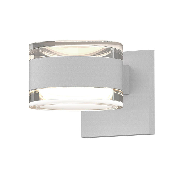 Reals Cylinder Outdoor Wall Sconce - Textured White / Clear Cylinder / Up & Down Light