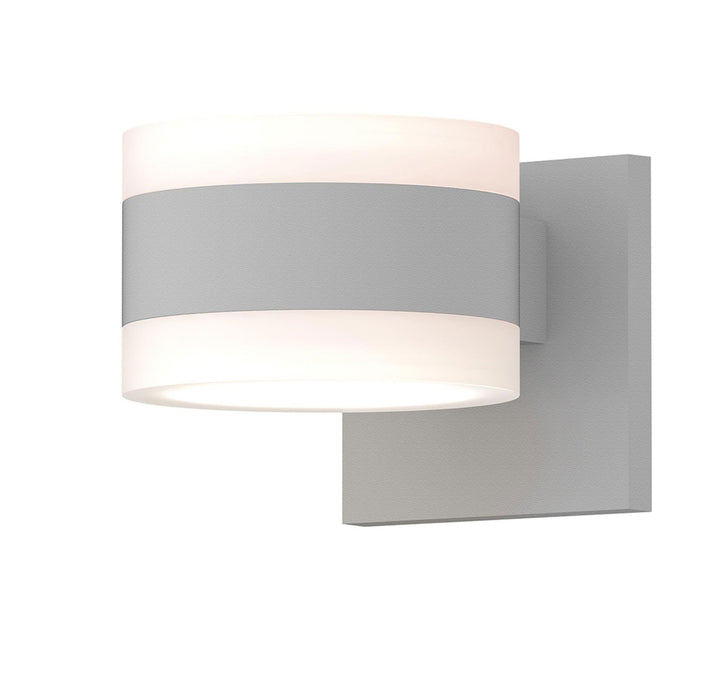 Reals Cylinder Outdoor Wall Sconce - Textured White / White Cylinder / Up & Down Light