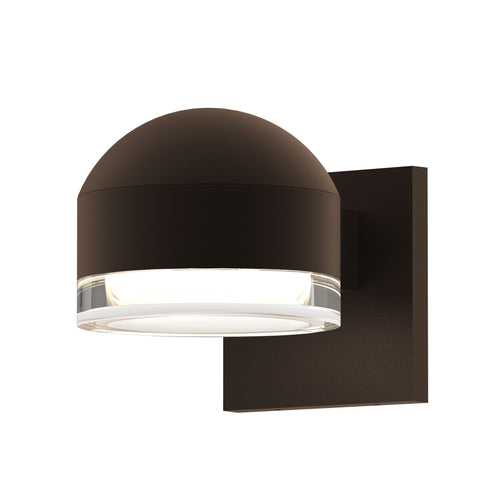 Reals Dome/Cylinder Outdoor Wall Sconce - Textured Bronze / Clear Cylinder / Downlight