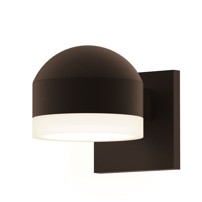 Reals Dome/Cylinder Outdoor Wall Sconce - Textured Bronze / White Cylinder / Downlight