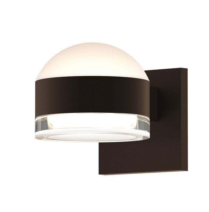 Reals Dome/Cylinder Outdoor Wall Sconce - Textured Bronze / Clear Cylinder / Up & Down Light