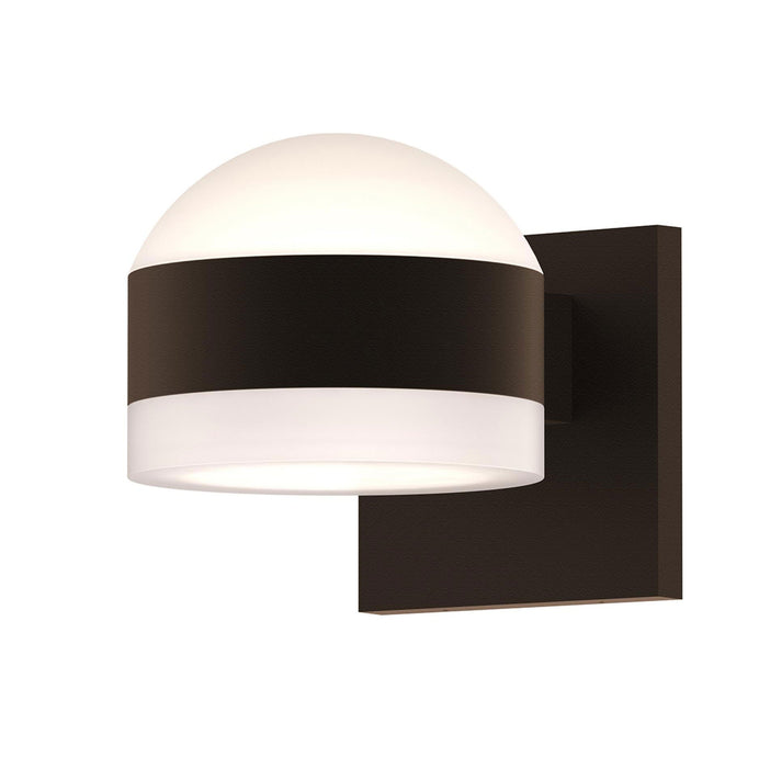 Reals Dome/Cylinder Outdoor Wall Sconce - Textured Bronze / White Cylinder / Up & Down Light