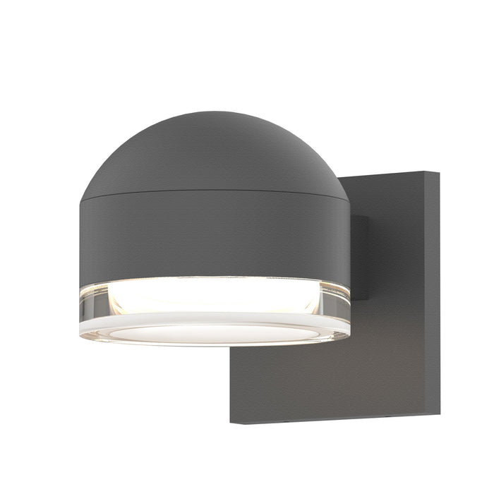Reals Dome/Cylinder Outdoor Wall Sconce - Textured Gray / Clear Cylinder / Downlight
