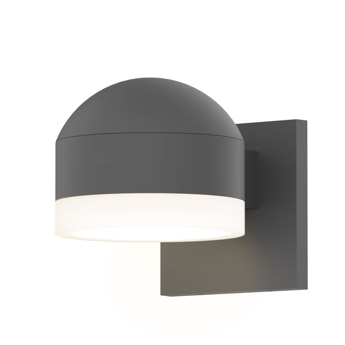 Reals Dome/Cylinder Outdoor Wall Sconce - Textured Gray / White Cylinder / Downlight