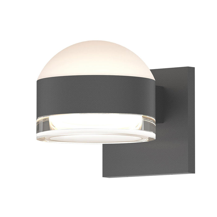 Reals Dome/Cylinder Outdoor Wall Sconce - Textured Gray / Clear Cylinder / Up & Down Light