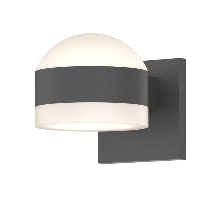 Reals Dome/Cylinder Outdoor Wall Sconce - Textured Gray / White Cylinder / Up & Down Light