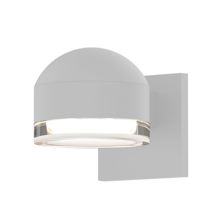 Reals Dome/Cylinder Outdoor Wall Sconce - Textured White / Clear Cylinder / Downlight