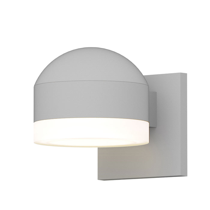 Reals Dome/Cylinder Outdoor Wall Sconce - Textured White / White Cylinder / Downlight