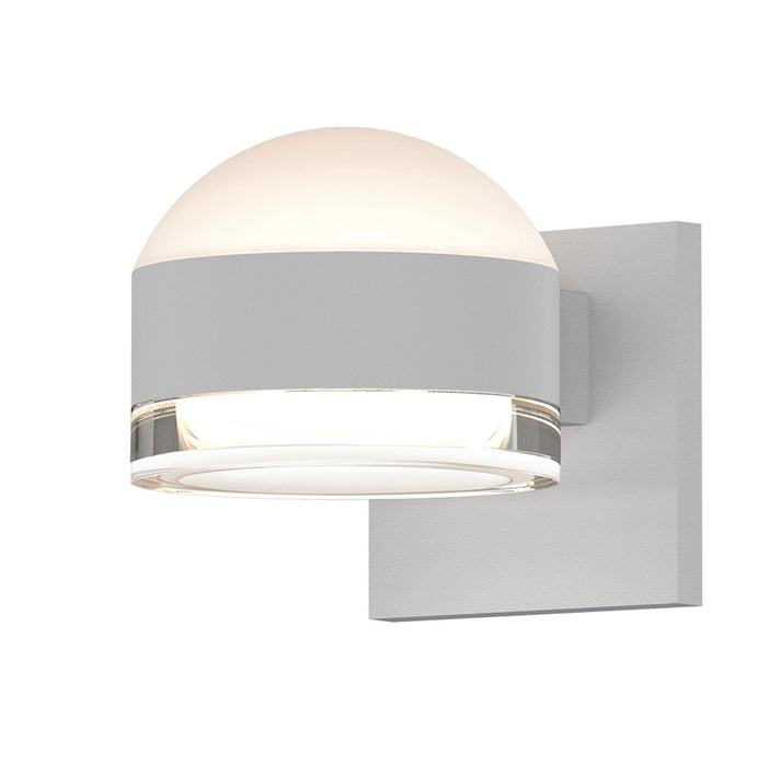Reals Dome/Cylinder Outdoor Wall Sconce - Textured White / Clear Cylinder / Up & Down Light