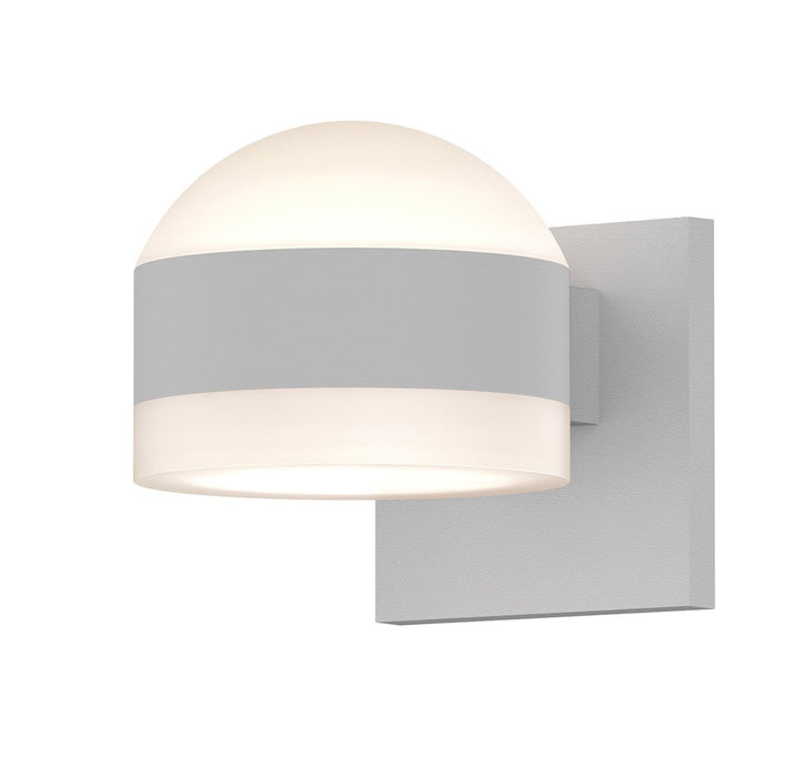 Reals Dome/Cylinder Outdoor Wall Sconce - Textured White / White Cylinder / Up & Down Light